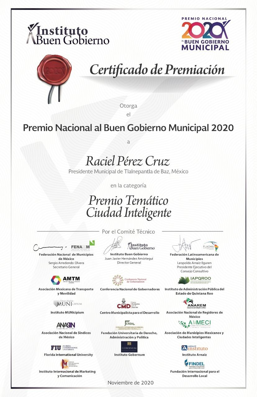 Recibe Tlalnepantla 'Premio Nacional al Buen Gobierno Municipal 2020'