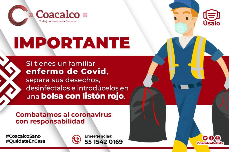 ESTABLECE GOBIERNO DE COACALCO EL TRATAMIENTO DE RESIDUOS DE PACIENTES COVID