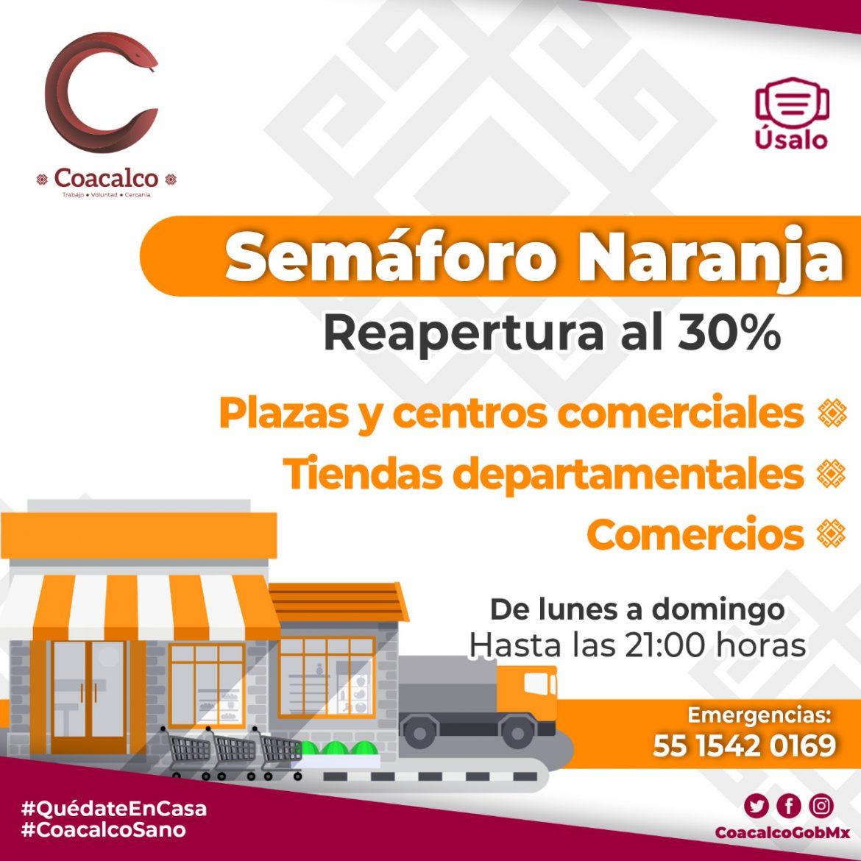 LLAMA GOBIERNO DE COACALCO A NO BAJAR LA GUARDIA CONTRA EL COVID-19 DURANTE SEMÁFORO NARANJA