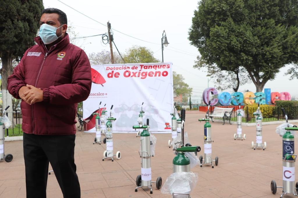 INICIA GOBIERNO DE COACALCO DOTACIÓN DE TANQUES DE OXÍGENO A PACIENTES DE COVID-19